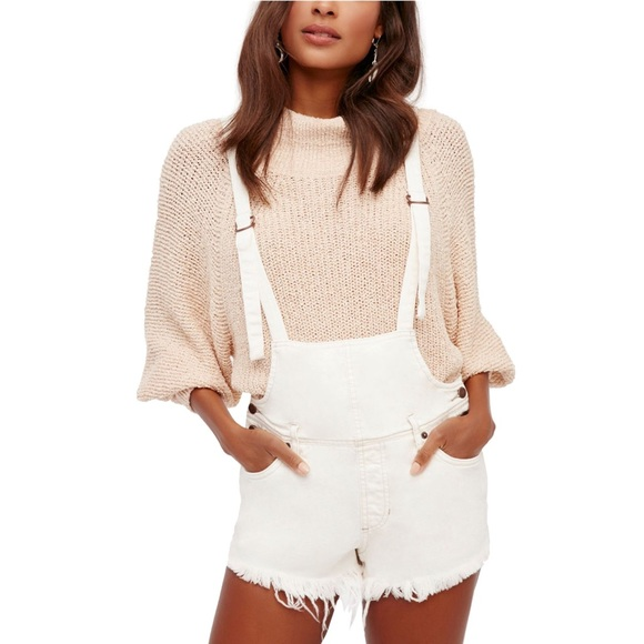 NWT Free People White Overalls Shorts